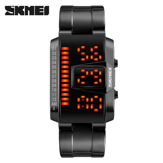 men sport watch SKMEI brand 50M waterproof swimming watches fashion LED display alloy band black wristwatches relogio masculino