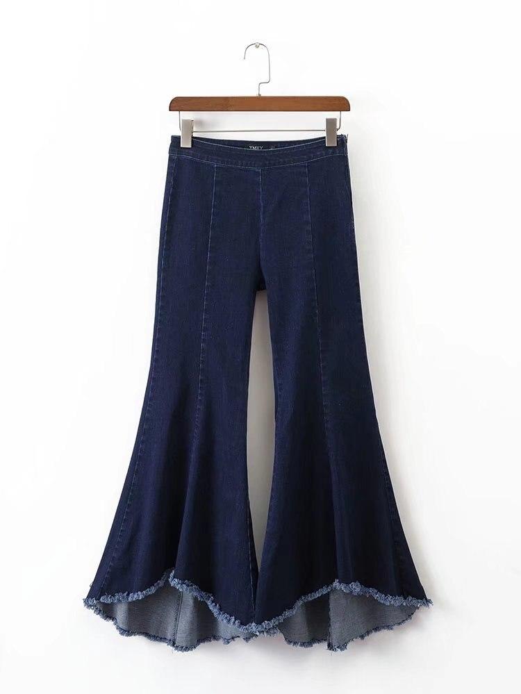 wide leg pants women bottoms Zipper casual pants capri trousers Summer Jeans female pants trousers alfred dunner women s wide leg pants 18w multi