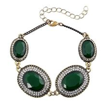 Turkey Bracelet Jewelry Bronze Alloy Plating 3 Color Oval Resin Rhinestone Bracelets For Women Latest Fashion