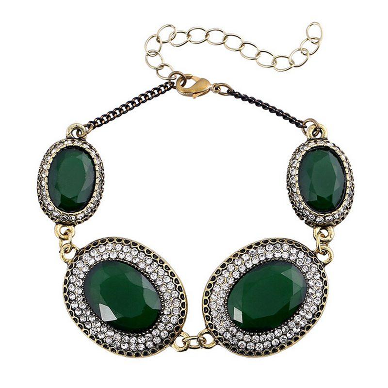 Turkey font b Bracelet b font Jewelry Bronze Alloy Plating 3 Color Oval Resin Rhinestone font
