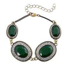 Turkey Bracelet Jewelry Bronze Alloy Plating 3 Color Oval Resin Rhinestone Bracelets For Women Latest Fashion Trendy Hot Sale