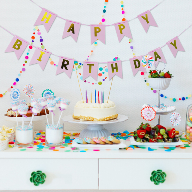 Baby Shower Latar Banner Ulang Tahun Pesta Fishtail Bendera Anak Anak Hadiah Bunting Happy Birthday