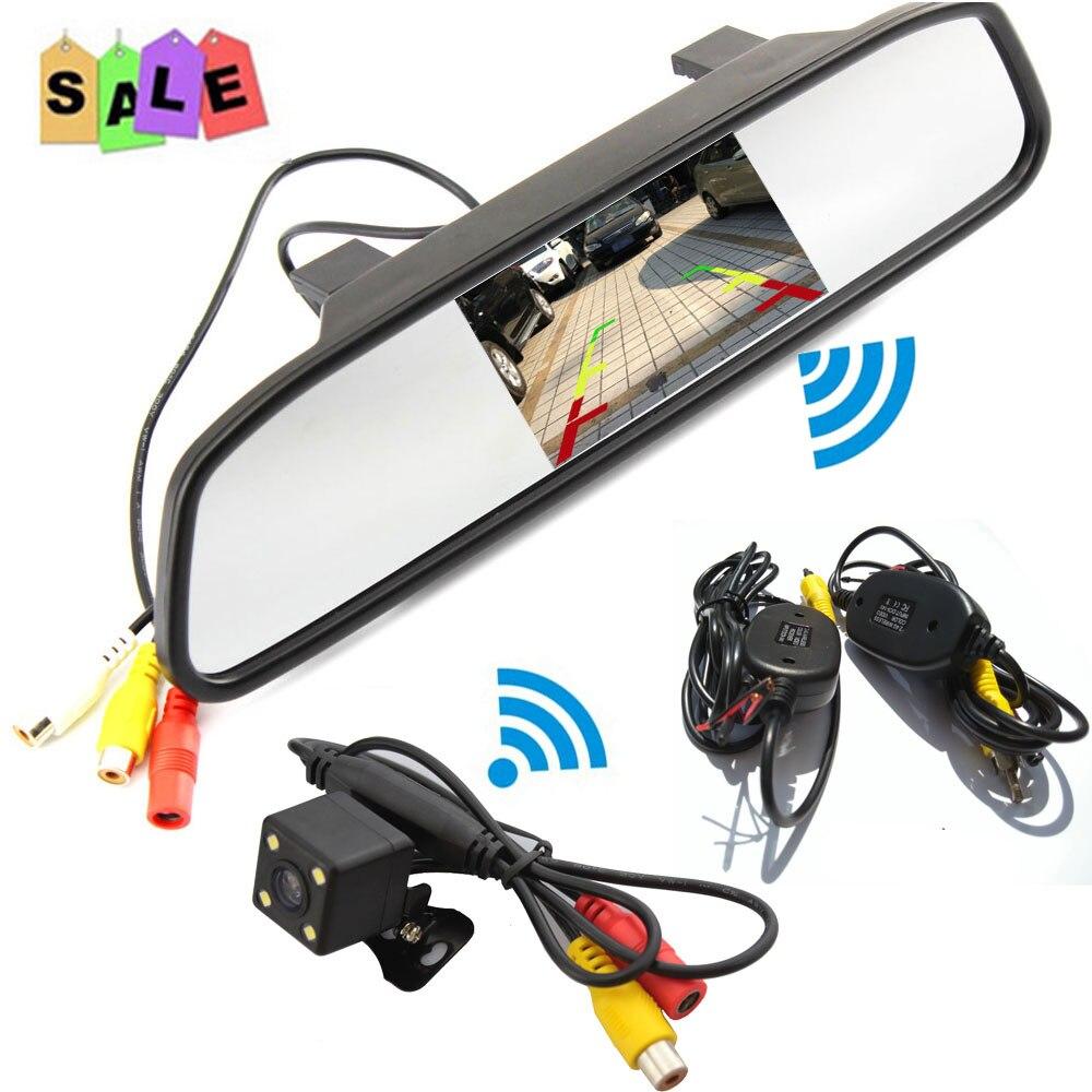 Caméra de recul sans fil pour voiture avec rétroviseur kit système de surveillance caméra de recul RCA Vision nocturne aide au stationnement