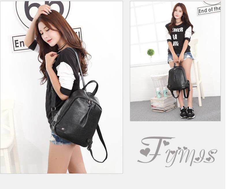 Korean Style Fashion Soft Genuine Leather Lady Travel Backpack Student Mini Cow Leather Solid Color Zipper Double Shoulder Bag tiding luxury genuine leather solid black color backpack vintage style student bag travel luggage bag backbag