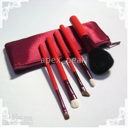 Makeup brush set Red (40sets) New 5 pieces
