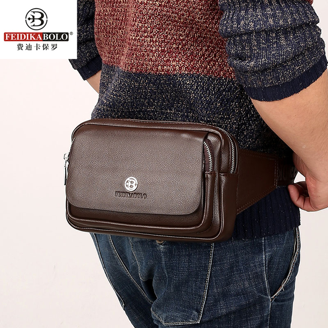 2016 de La Vendimia de LA PU de Cuero Bolsas Paquetes de La Cintura Para Los Hombres de La Correa de Cintura Bolsas De Los Hombres de Moda Casual de Negocios de Marca Bolsa