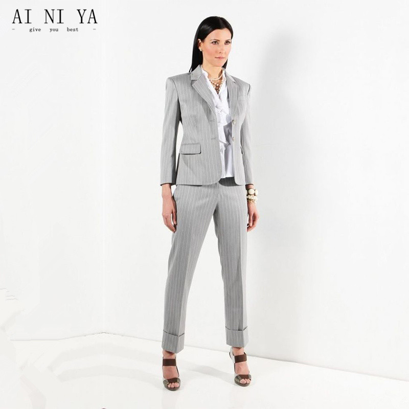 Light Gray Slim Womens Business Suit Office Work Wear Notched Single Breasted Striped Two-piece Suits Female Trouser Suits 2018