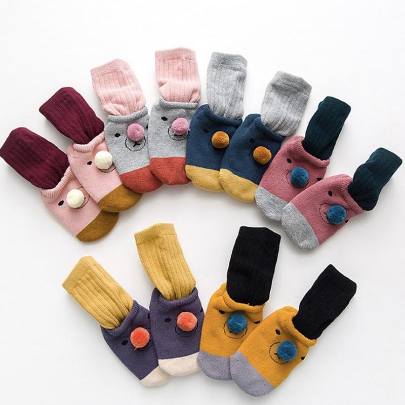 Outono meias bebê dos desenhos animados unisex crianças inverno 2 pcs menino da criança meias confortáveis 0-3 t Removível meias conjuntos MÉDIO + CURTO