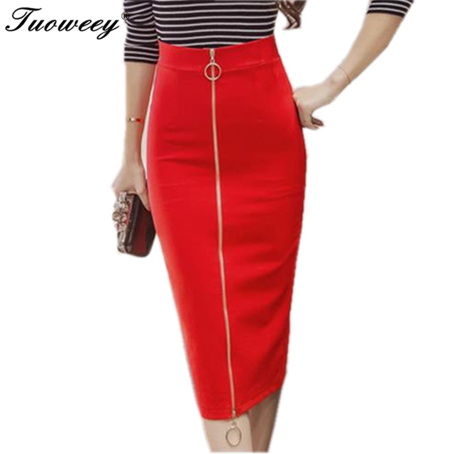 Women 2 Colors Split Back Brief Mid Waist Pencil Midi Skirt Back Zipper Knee Length 2019 New Fashion OL Formal Wear Clothing