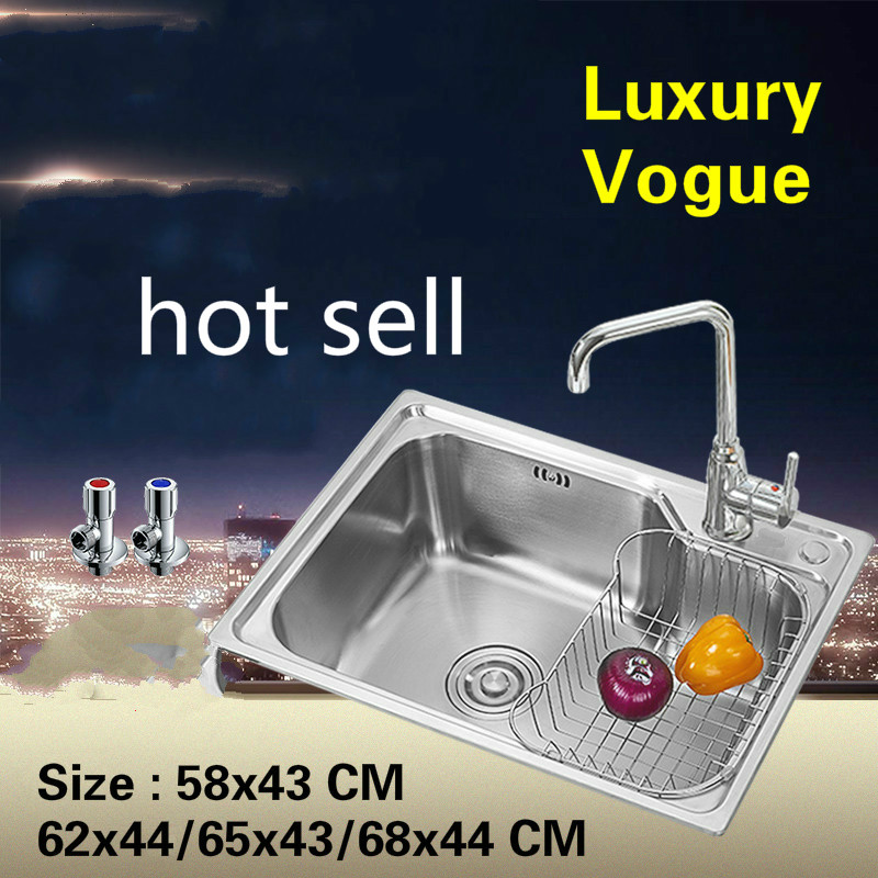 Free Shipping Standard Individuality Kitchen Sink Food Grade 304 Stainless Steel Single Slot Hot Sell 58x43/62x44/65x43/68x44 CM