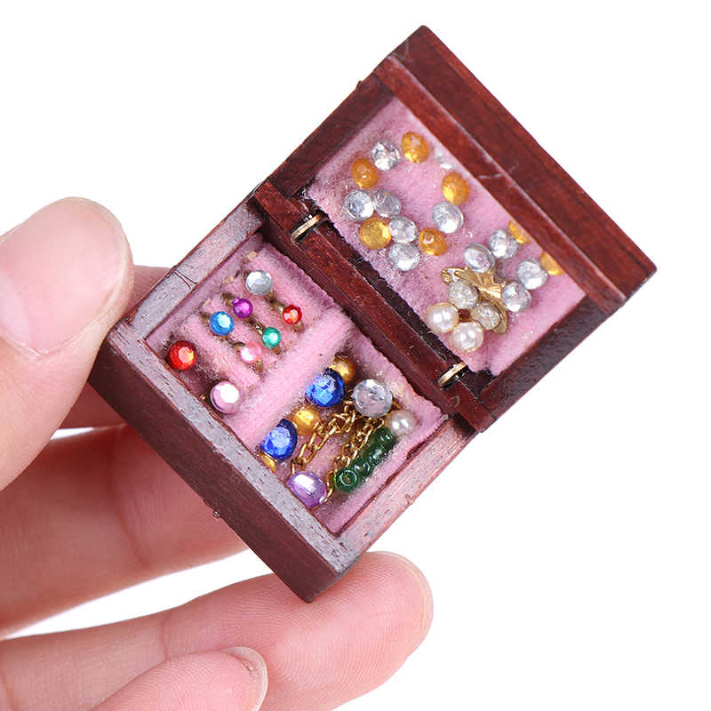 1PCS Wooden 1/12 Scale Dollhouse Miniature Vintage Jewelry Box Miniatras House Decor Furniture Accessories Toy