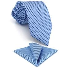B6 Azure Polka Dots Silk Mens Ties Necktie Wedding Classic for male Brand New Dress Hanky extra long size