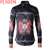 2018 New Gothic Royal Flag Digital Positioning Customization Print Fashion Men's Shirt Square Collar Young Boy Open Stitch Slim