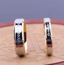Nunca desbote anel de noivado, letra para sempre amor justo acessórios para mulheres e homens anéis de casamento