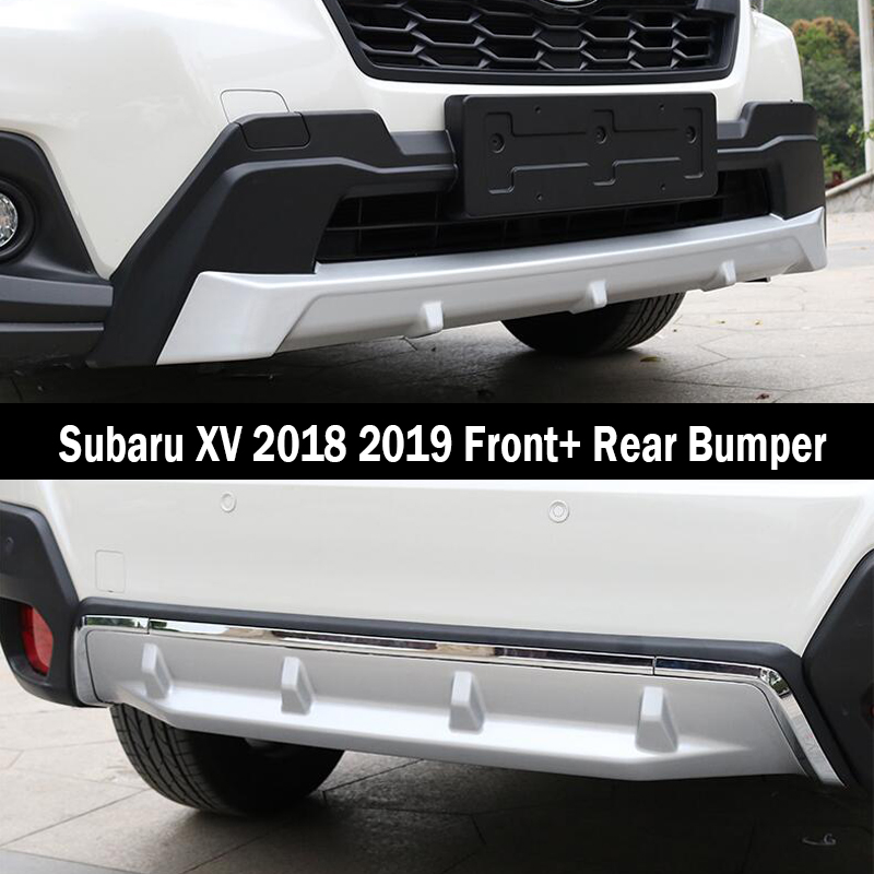 US $100 0 20% OFF|Fit For Subaru XV 2018 2019 Front+ Rear Bumper Diffuser  Bumpers Lip Protector Guard skid plate ABS Chrome finish 2PES-in Bumpers