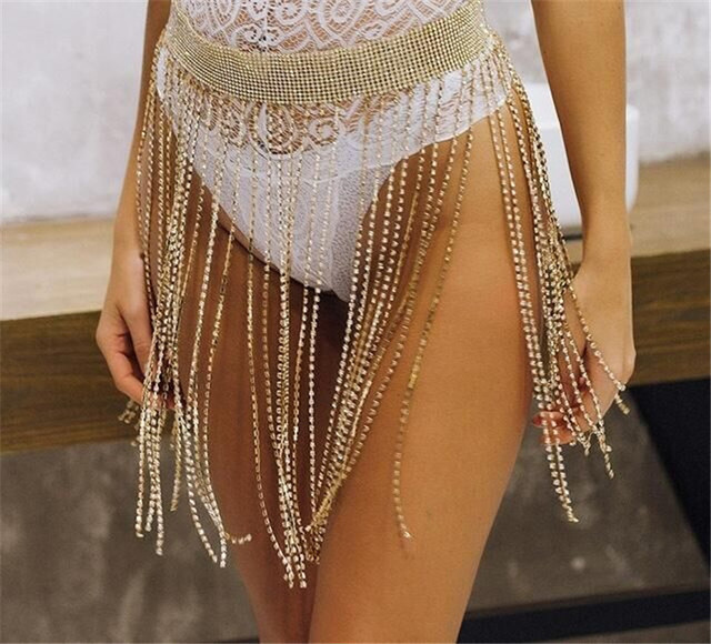 New Fashion Style WRB1018 Women Rhinestone Harness Bondage Beach Bress  Belly Chain Gold Waist Belly Dress Jewelry 3 Colors