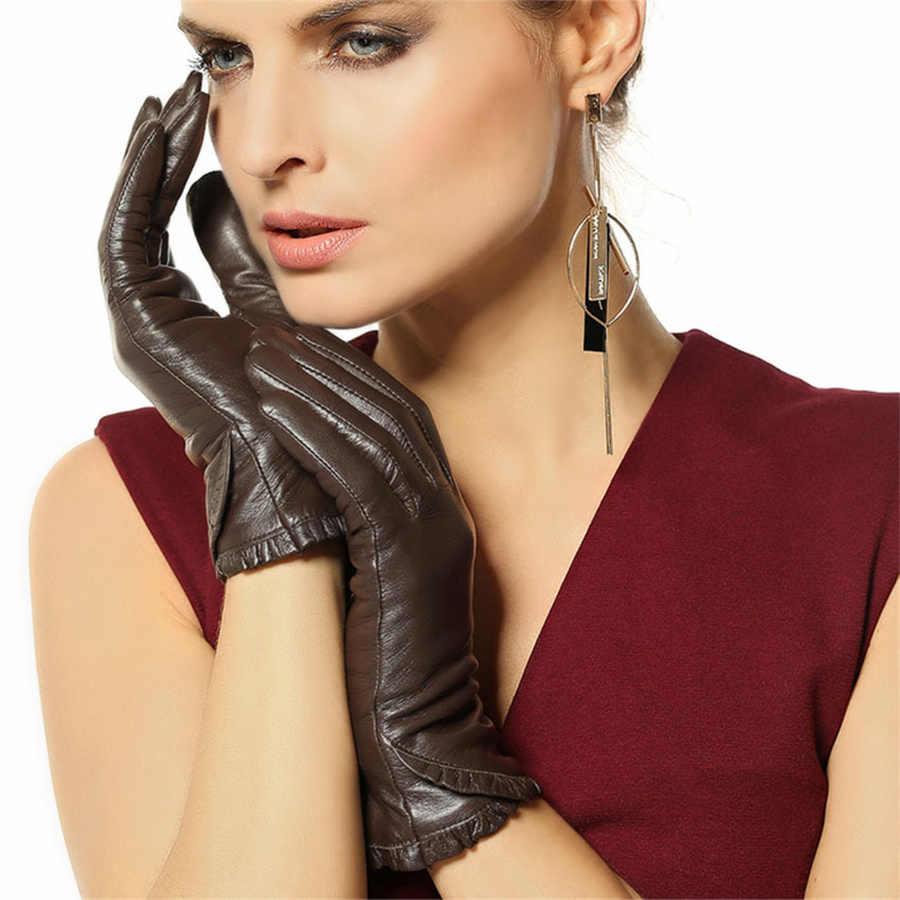 女性秋冬本革手袋女性のファッショントレンドゴートスキン暖かいベルベット並ぶドライビンググローブl001nc