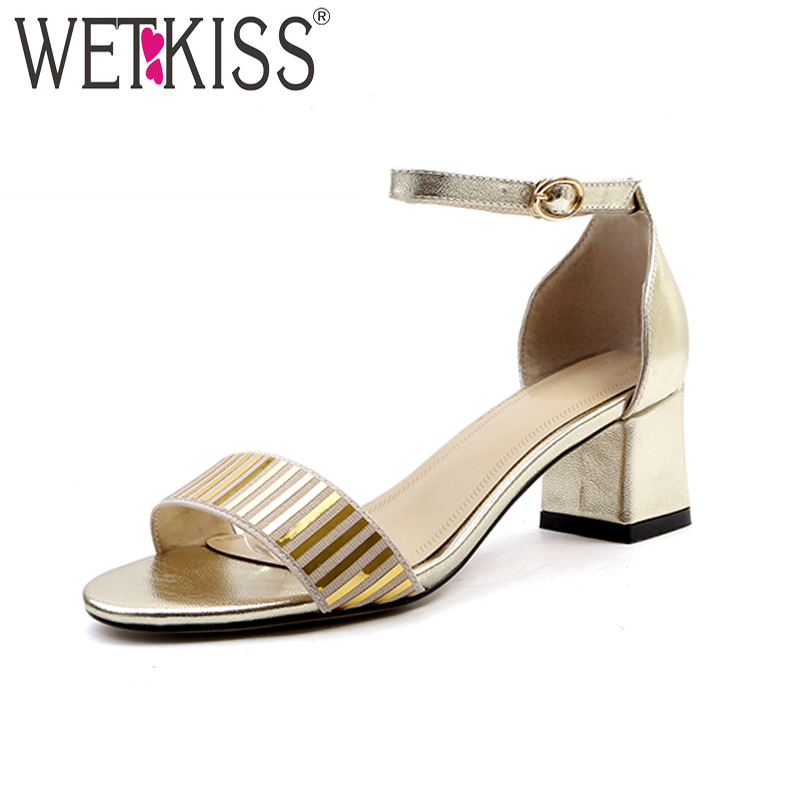 WETKISS Summer Thick High Heels Women Sandals Open Toe Genuine Leather Footwear 2018 New Ankle Strap Ladies Shoes Big Size 43 бейли д джонс дж искусство плетения кос page 8