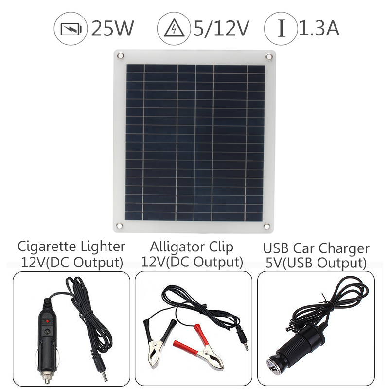 Mini Solar Panel 25W 12V 5V Flexible Volt Polysilicon Battery Charging System Portable 420*370mm for Home Outdoor