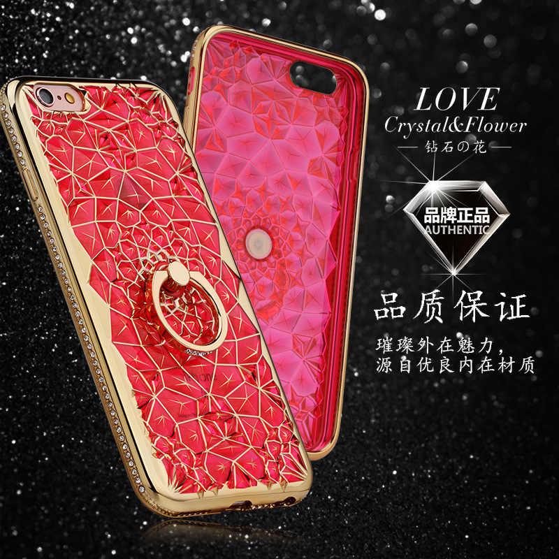 Iphone 12ミニ11プロxs最大xr × ケース高級3Dソフトリングiphone SE2 5 6 s 7 8プラスリンググリッターラインストーンスタンドカバー