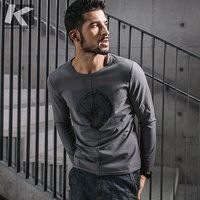 KUEGOU New Autumn Mens Fashion T Shirts Print Gray White Brand Clothing Man S Long Sleeve