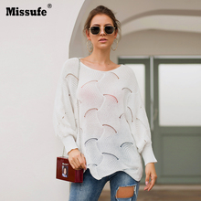 Missufe O Neck Long Sleeve Sweaters Women Hollow Out Jumpers Kintted Loose Autumn Winter Warm Sweaters Irregular Pullovers Tops цена