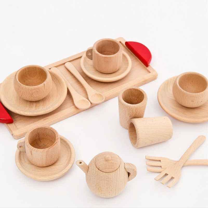1Set Wooden Tableware Tools Tea Pot Tea Cup Teatime Party Play Toy Dollhouse Miniature Kitchen Tableware Accessories Kids Toys