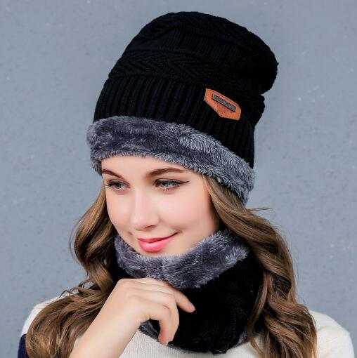Loyal Snow Woolen Cap Ski Set Men/women Hat Windproof Winter Lic Outdoor Knitted Thermal Thick Scarf Collar Wrap New Year Gfit Shrink-Proof Women's Scarf Sets