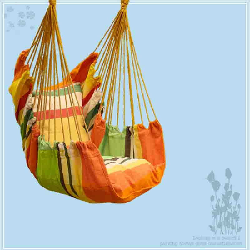Newest Canvas Hammock Adult Indoor Swing Cradle Outdoor Handing Chair Children Hammock Tourism with Cushion Bearing