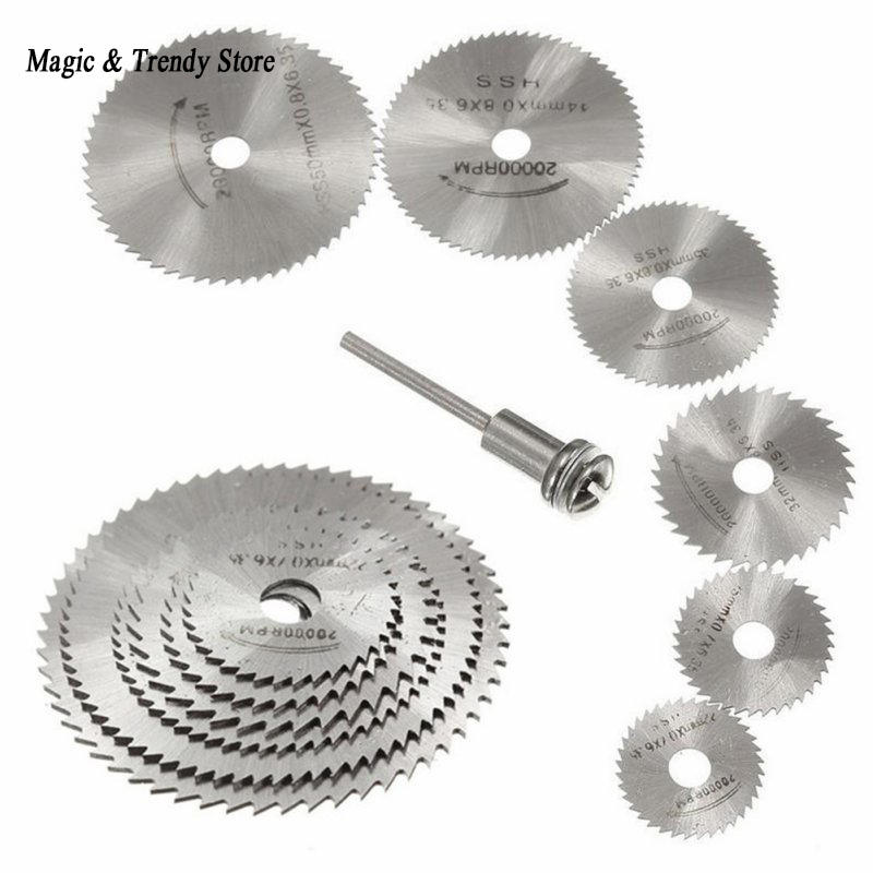 7pcs Mini HSS Circular Saw Blade Rotary Tool For Dremel Metal Cutter Power Tool Wood Cutting Discs Drill Mandrel Cutoff 6pcs mini hss saw circular saw blade rotary tools for dremel metal cutter jigsaw blade wood cutting discs drive for cutting wood