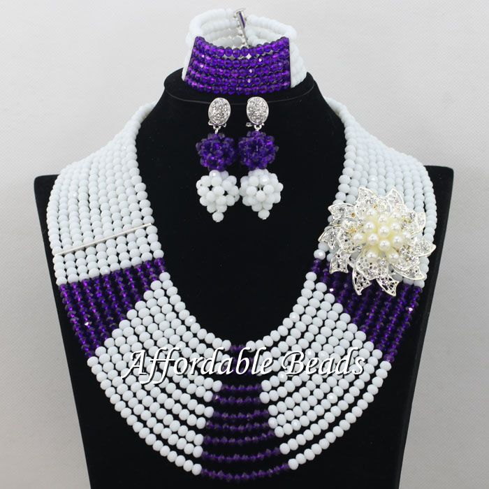 White Purple African Wedding Beads Jewelry Set Rare Dubai Gold ...