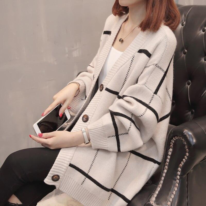 2019 femmes à manches longues tricoté Cardigan chandail avec boutons dames automne hiver 2019 nouveau surdimensionné cachemire chandails manteau XXXL - 2