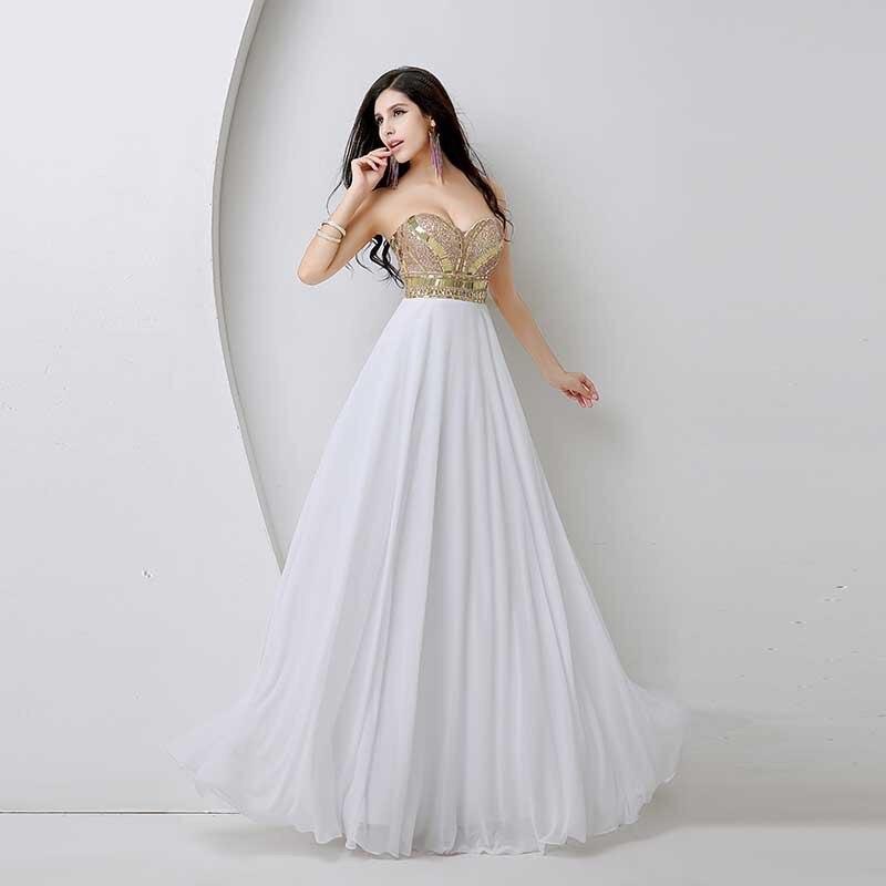 2017 Luxusní dámské luxusní modré bavlněné šaty s dlouhým - Šaty pro svatební hostiny - Fotografie 2