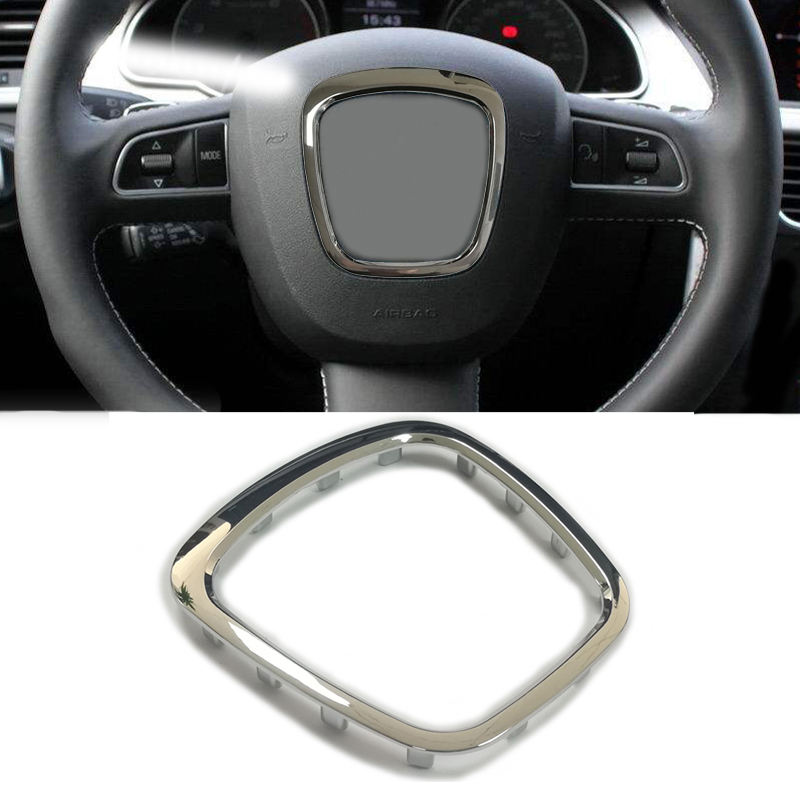 Car Abs Chrome Steering Wheel Trim Sticker Center Emblem Logo Frame Accessories For Audi A3 S3 8P A4 B6 B7 B8 A5 A6 C6 Q5 Q7