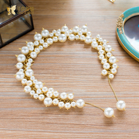 Gorgeous Handmade headband women pearl jewelry forehead hair ornaments gold band bridal jewelry wedding accessories zhurun