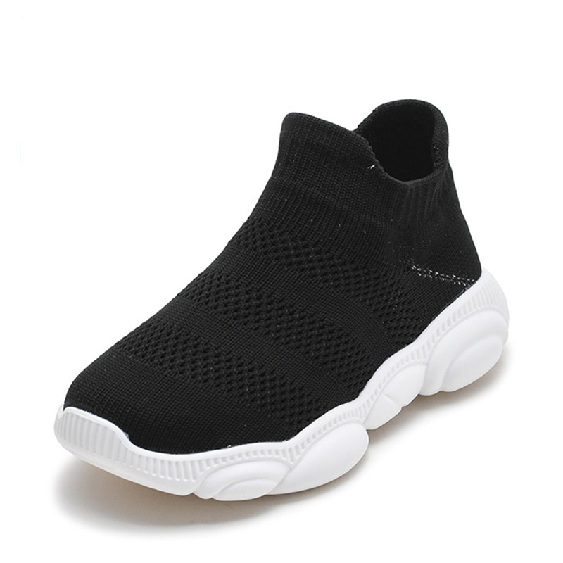 Solid Color Kids Shoes Fashion Breathable Boy Children Socks Shoes Casual Soft Non-Slip Boys Knitted Sneakers Size 26-37