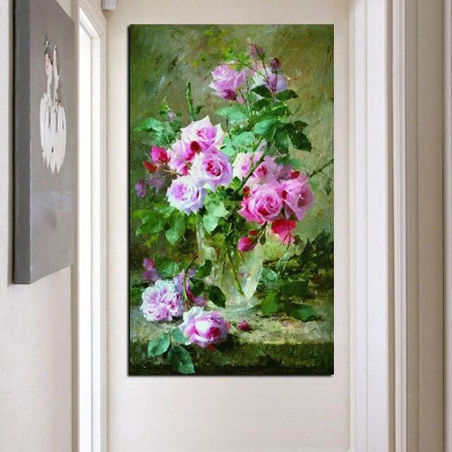 Online Shop Hd Print Modern Watercolor Flowers In Vase Floral Oil