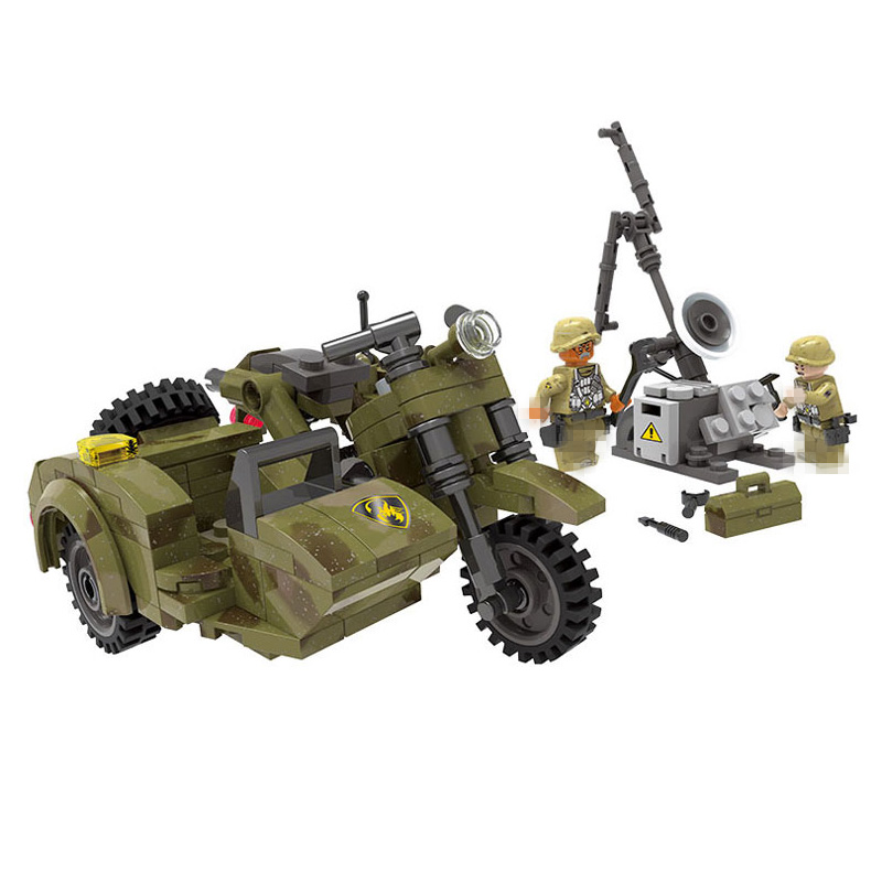 compatible legoinglys Military Through battlefield motorcycle Assemble Building Blocks figures with arms toys for children gift ...