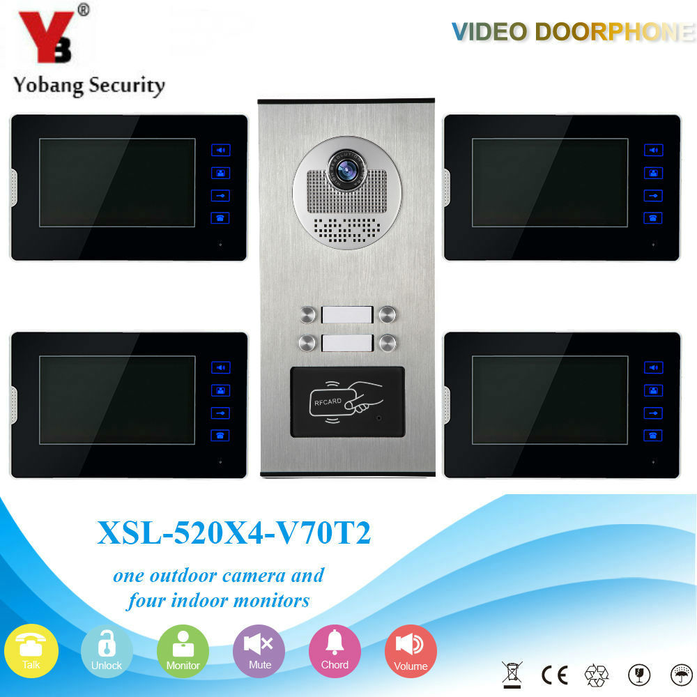 YobangSecurity Video Intercom 7Inch Video Door Phone Home Doorbell Intercom System RFID Access Door Camera For 4 Unit Apartment yobangsecurity wifi wireless video door phone doorbell camera system kit video door intercom with 7 inch monitor android ios app
