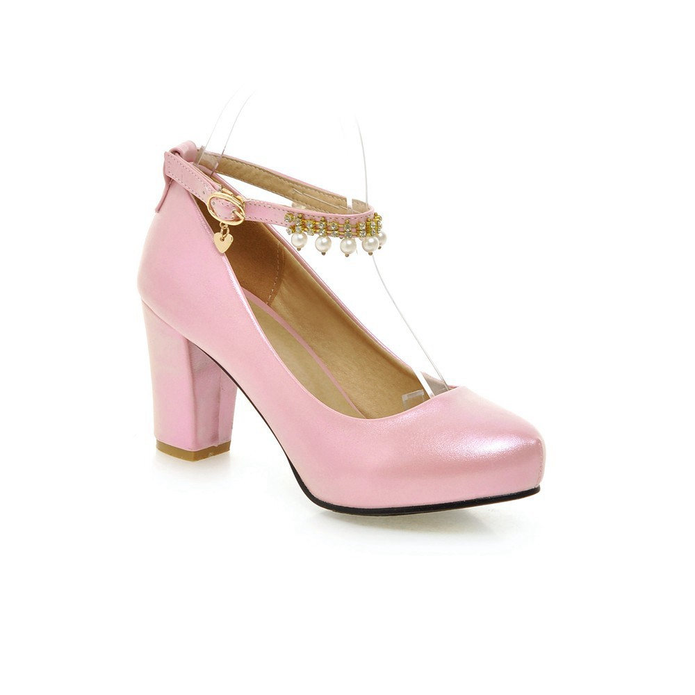 2017 Chunky High Heeled Pink Bridal Wedding Shoes Beaded White Female Buckle Elegant Pumps Silver Gold11