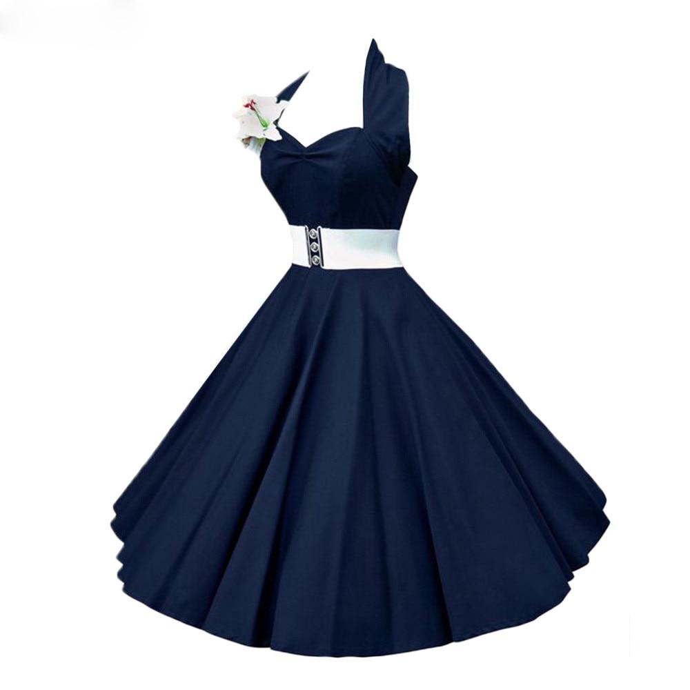 Plus Size 4XL Dress Retro Vintage Audrey Hepburn Halter Polka Dot 50s 60s Rockabilly Belted Dress Ball Gown Female Vestido