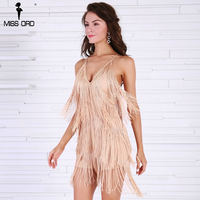 Missord 2017 Sexy V Neck Off Shoulder Cross Women Rompers Overalls Tassel Backless Playsuit FT8338 2