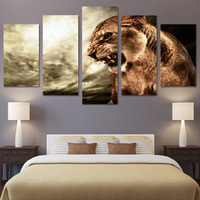 Canvas Wall Art Pictures Frame Kitchen Restaurant Decor 5 Pieces Animal Tiger Dawn Sky Landscape Living Room HD Printed Posters