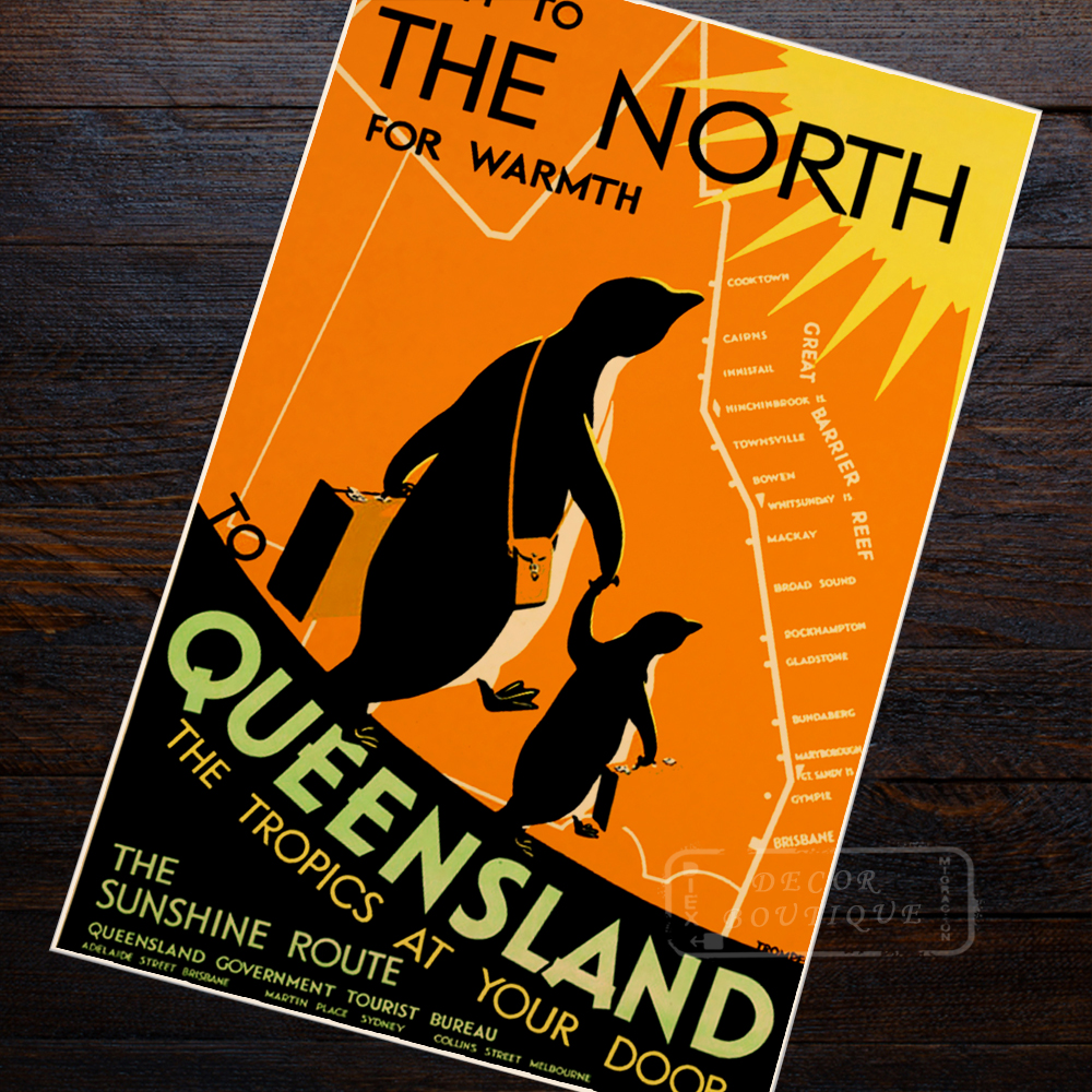 Vintage Art Deco Giclee Poster Print QUEENSLAND AUSTRALIA TRAVEL High Quality Fr