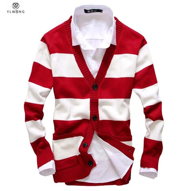 50ef3d3cc0 2017 Striped Design Fashion Men Cardigan Long Sleeve V Neck pull homme  Cotton Casual Wear Mens Cardigans Sweater Red Blue XL