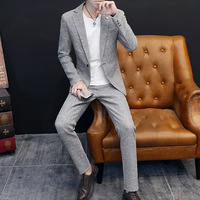 HOO2019 new tide male English atmosphere quality leisure suit Checked dress suit two young men