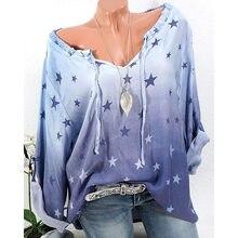 f241fde73ceca T-shirt printemps femmes à manches longues imprimé étoiles T-shirt Sexy col  en V T-Shirt décontracté chemise Femme tunique de gr.
