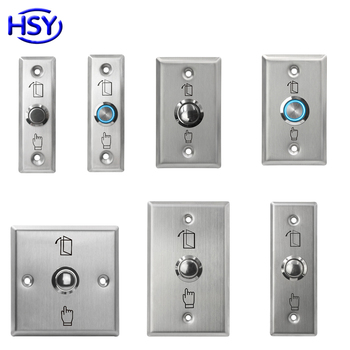 Stainless Steel Door Release Exit Button Optional LED Blue Backlight Emergency Push Switch For Access Control System image