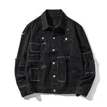 Patchwork Ripped Men Women Denim Jackets 2018 Printed Distressed Destoryed Jeans Jacket Hip Hop Mens Black Clothing S-6XL