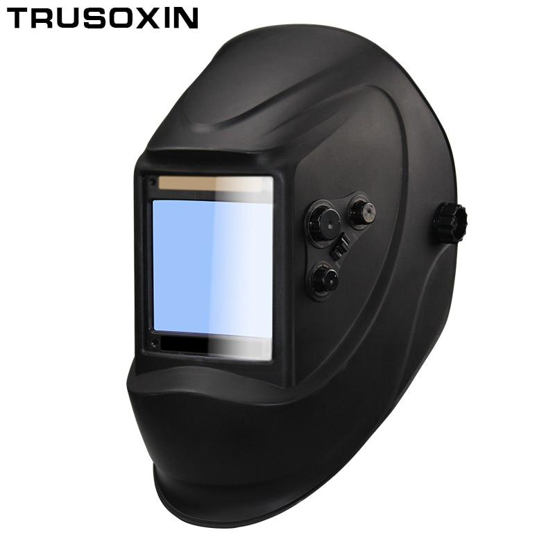 Fora de controle Big vista eara 4 sensor DIN5-DIN13 Solar auto escurecimento arc TIG MIG MMA máscara de solda/capacete/ cap soldador/lente/máscara facial